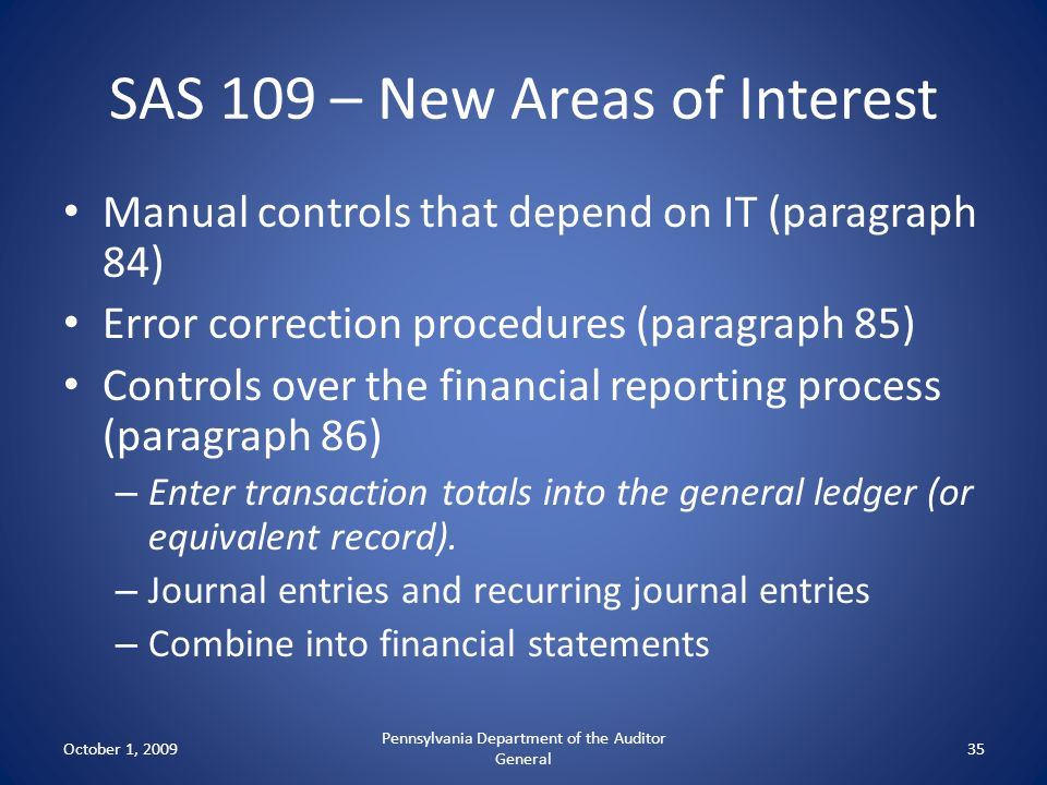 SAS 109 – New Areas of Interest