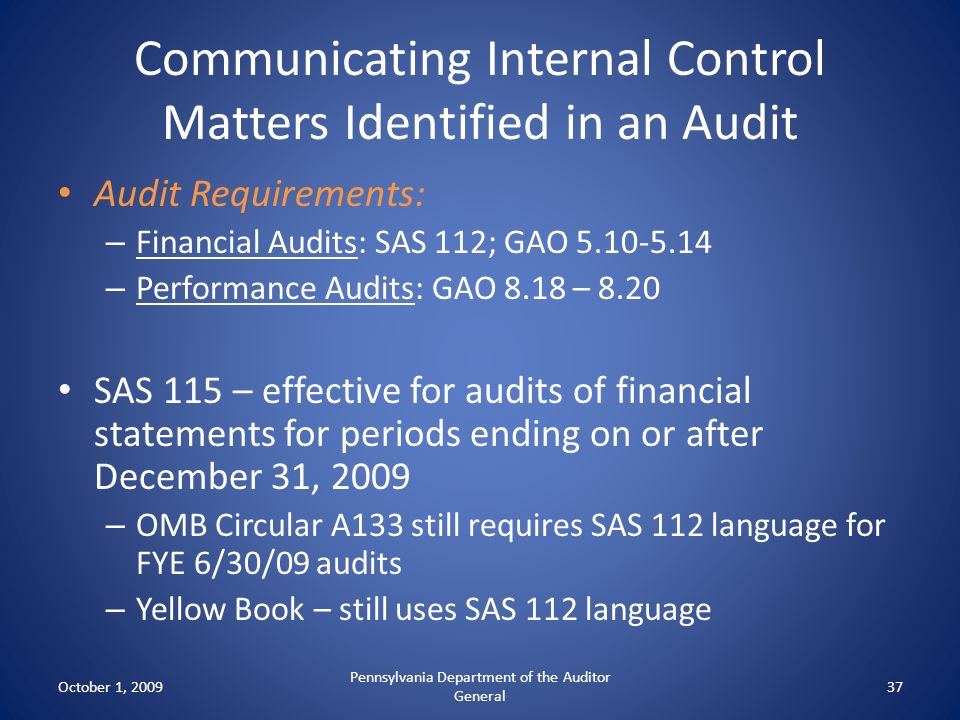 Communicating Internal Control Matters Identified in an Audit