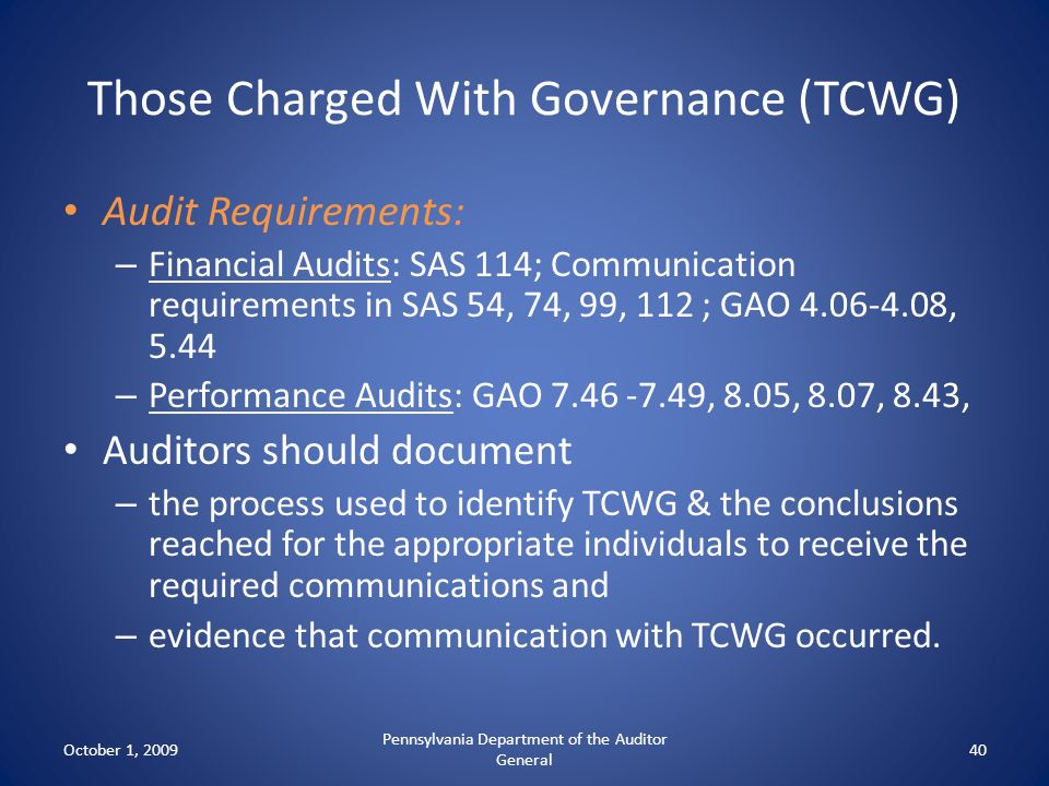 Those Charged With Governance (TCWG)