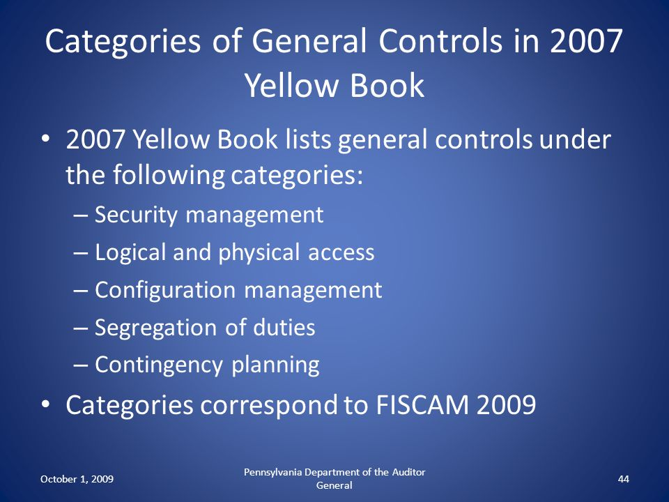Categories of General Controls in 2007 Yellow Book