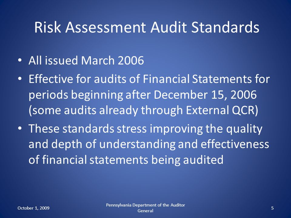 Risk Assessment Audit Standards