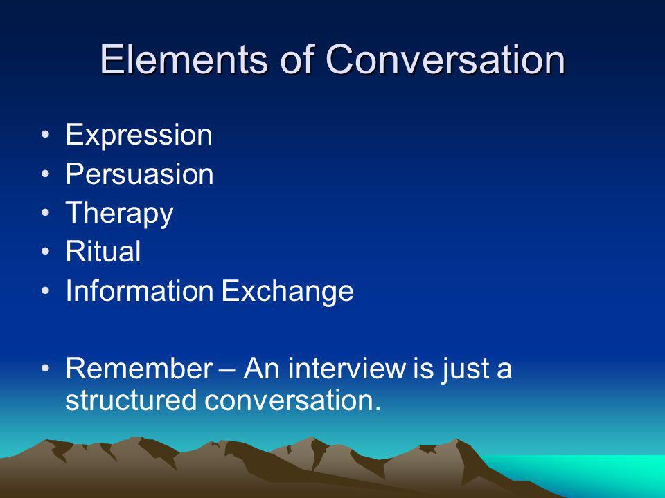 Elements of Conversation
