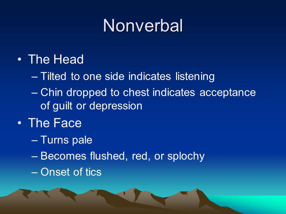 Nonverbal The Head The Face Tilted to one side indicates listening