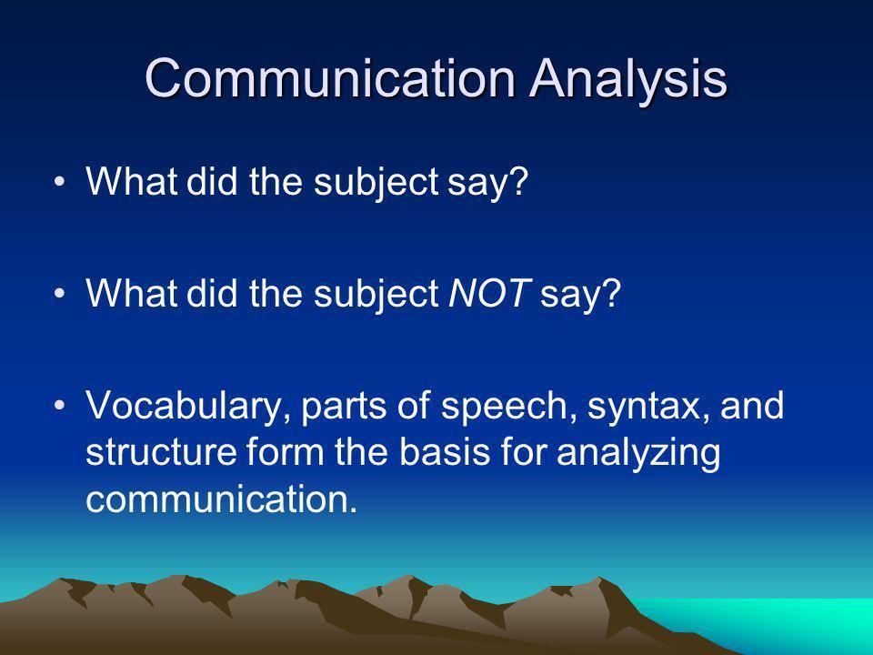 Communication Analysis