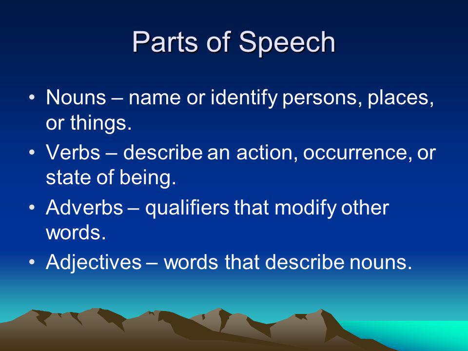 Parts of Speech Nouns – name or identify persons, places, or things.