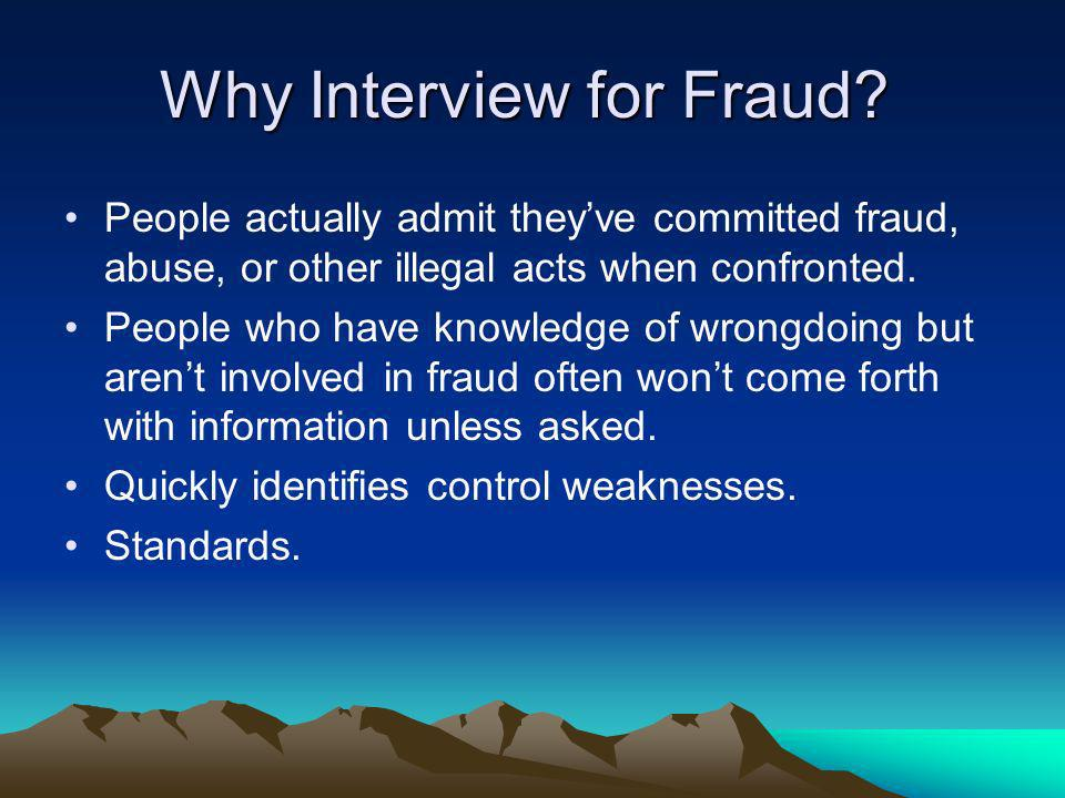 Why Interview for Fraud