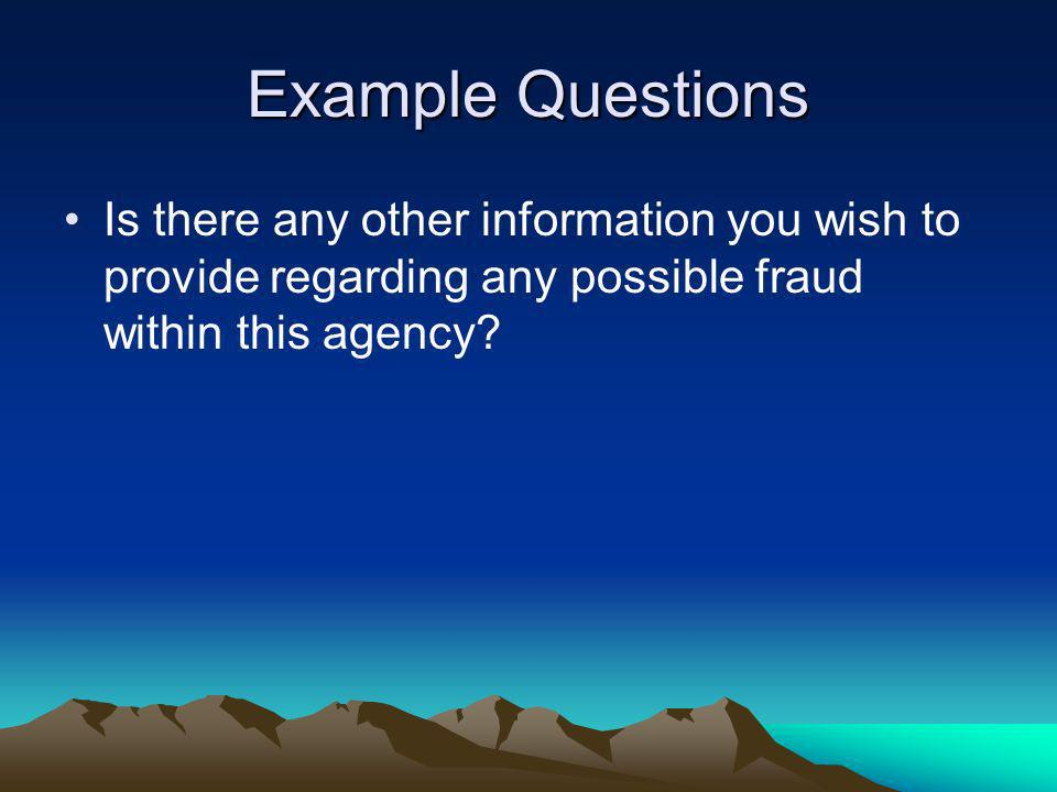 Example Questions Is there any other information you wish to provide regarding any possible fraud within this agency