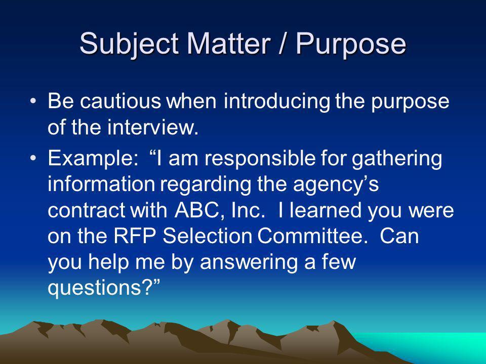 Subject Matter / Purpose