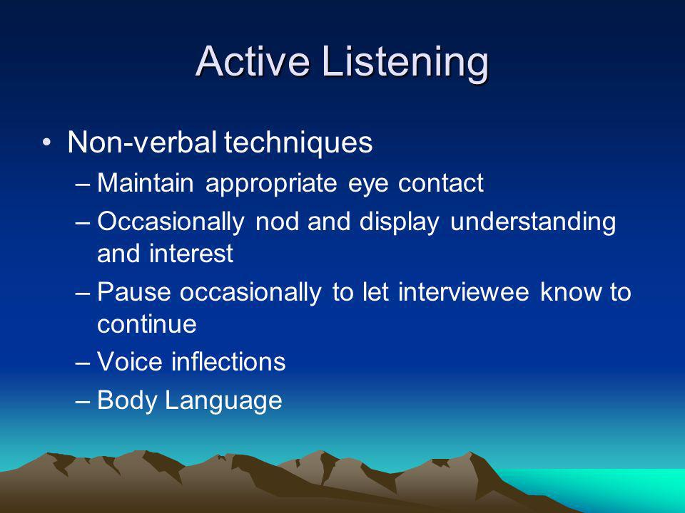 Active Listening Non-verbal techniques