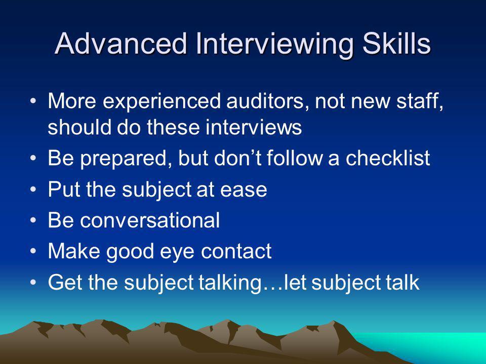 Advanced Interviewing Skills