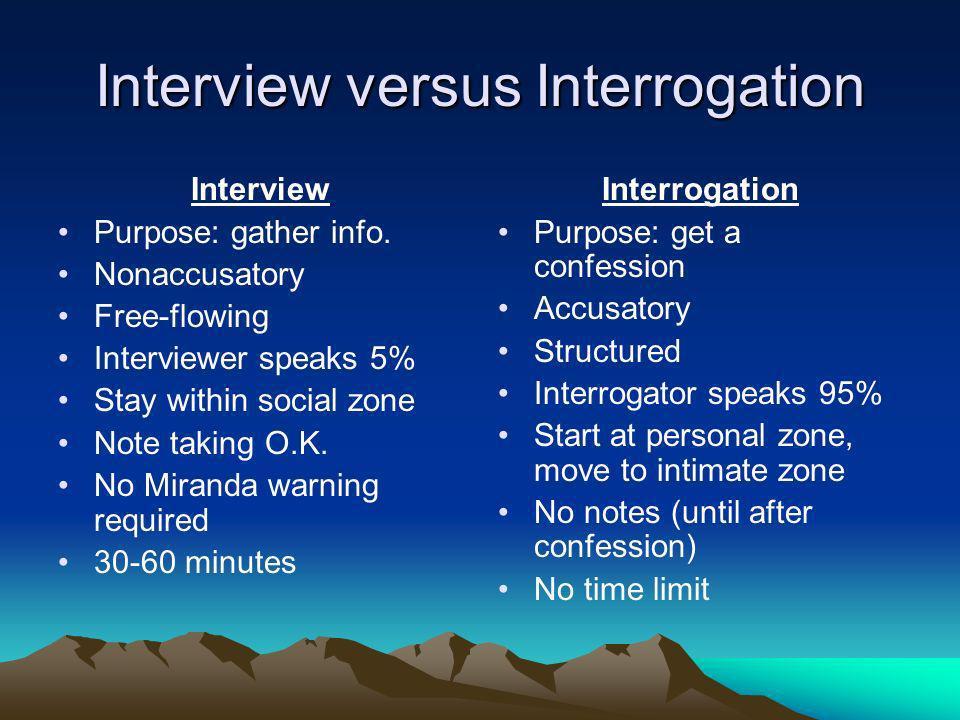 Interview versus Interrogation