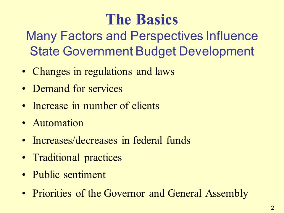 The Basics Many Factors and Perspectives Influence State Government Budget Development