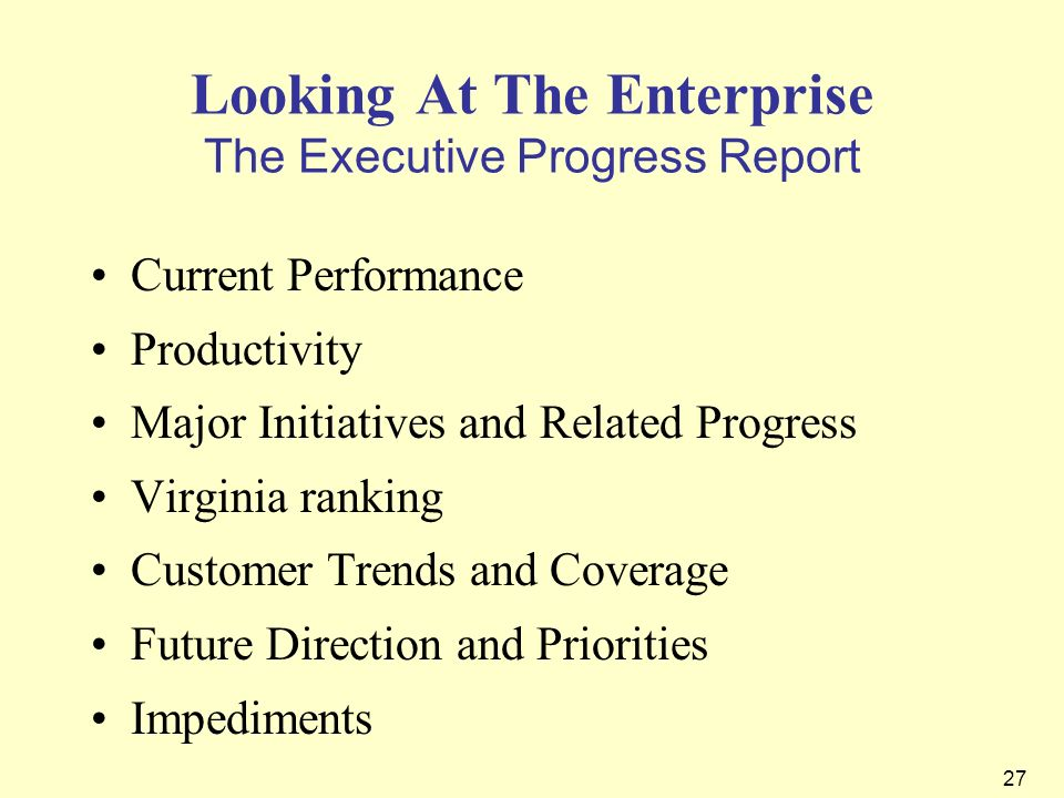 Looking At The Enterprise The Executive Progress Report