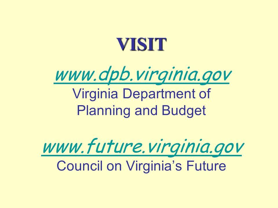 VISIT www.dpb.virginia.gov Virginia Department of Planning and Budget www.future.virginia.gov Council on Virginia's Future