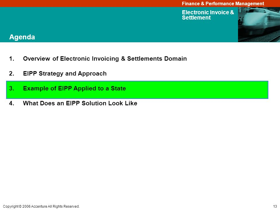 Agenda Overview of Electronic Invoicing & Settlements Domain