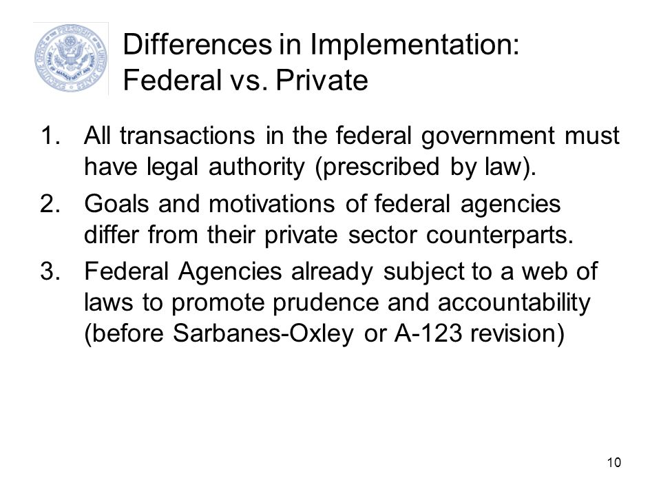 Differences in Implementation: Federal vs. Private