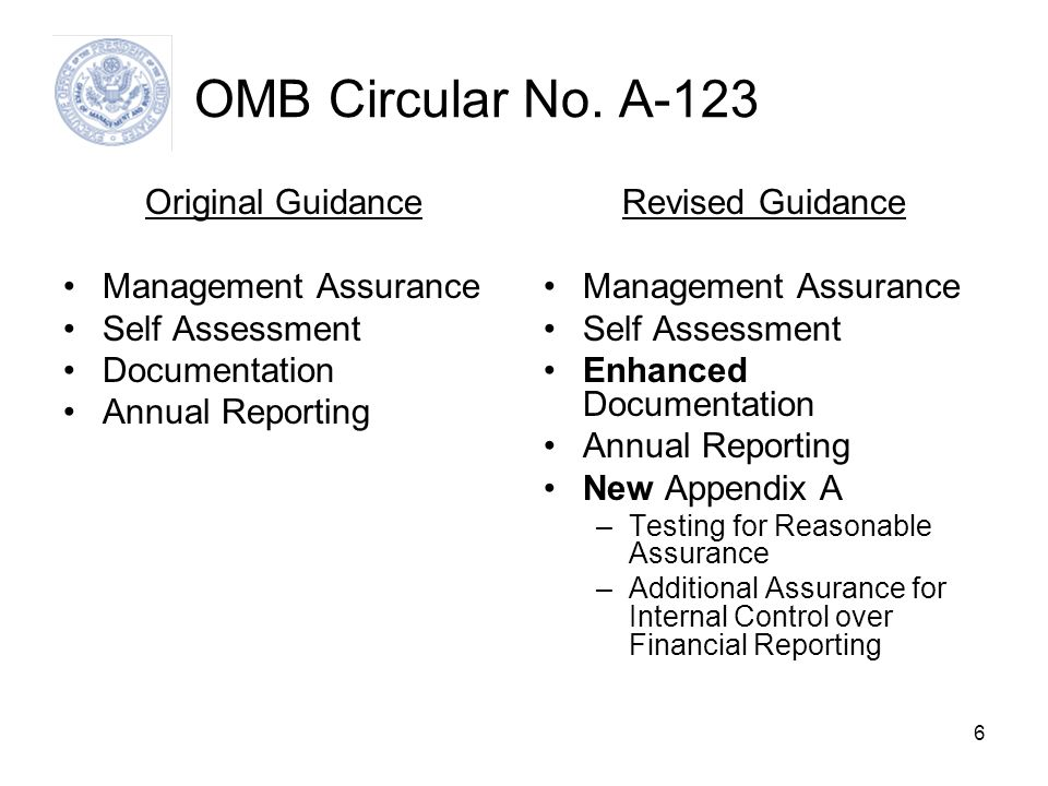 OMB Circular No. A-123 Original Guidance Management Assurance