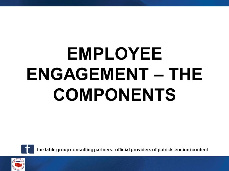 EMPLOYEE ENGAGEMENT – THE COMPONENTS