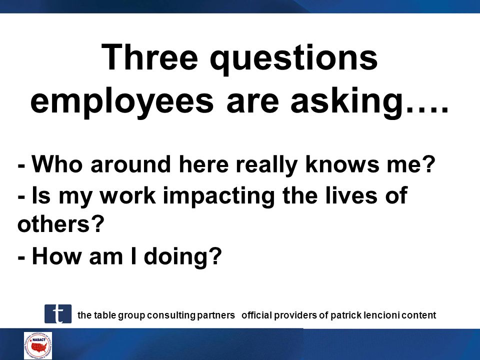 Three questions employees are asking….