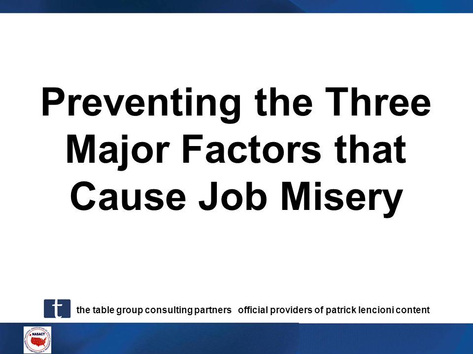 Preventing the Three Major Factors that Cause Job Misery