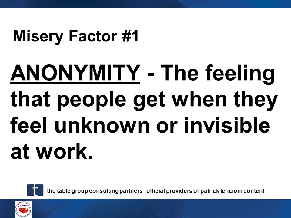 Misery Factor #1 ANONYMITY - The feeling that people get when they feel unknown or invisible at work.