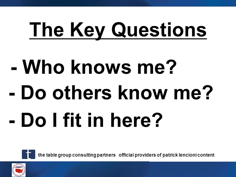 The Key Questions - Who knows me - Do others know me