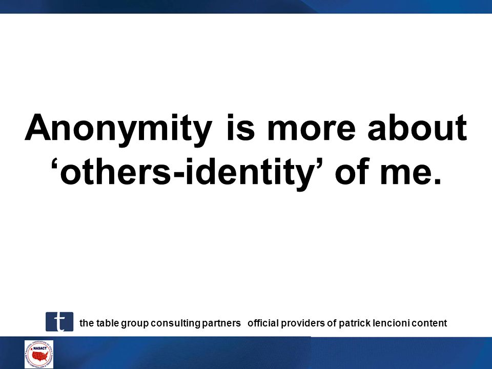 Anonymity is more about 'others-identity' of me.