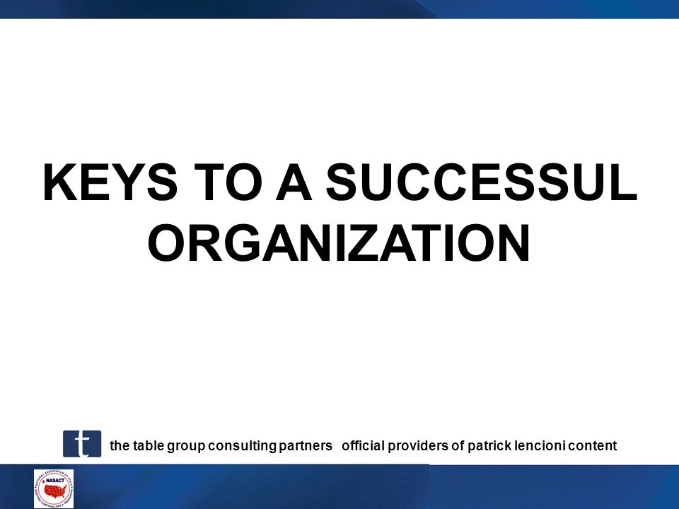 KEYS TO A SUCCESSUL ORGANIZATION