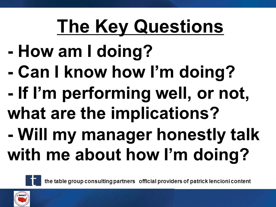 The Key Questions - How am I doing - Can I know how I'm doing