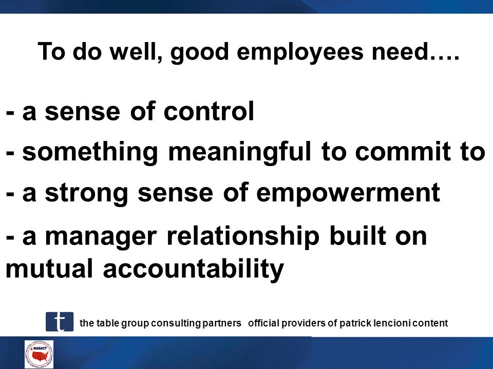 To do well, good employees need….
