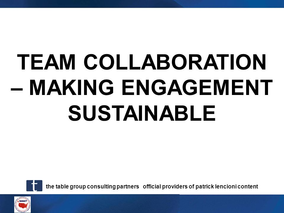 TEAM COLLABORATION – MAKING ENGAGEMENT SUSTAINABLE