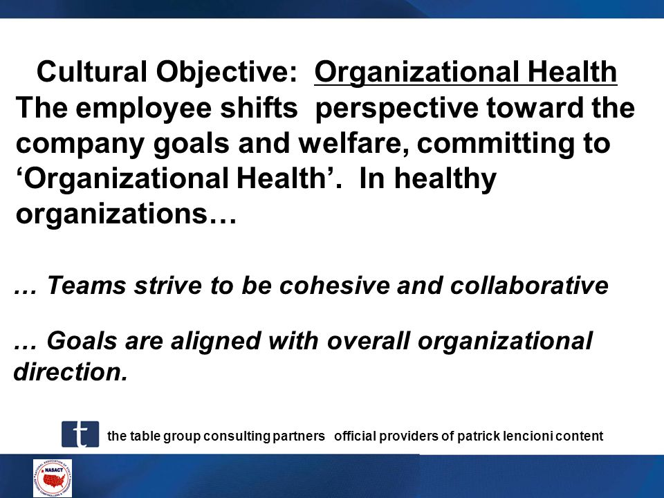 Cultural Objective: Organizational Health