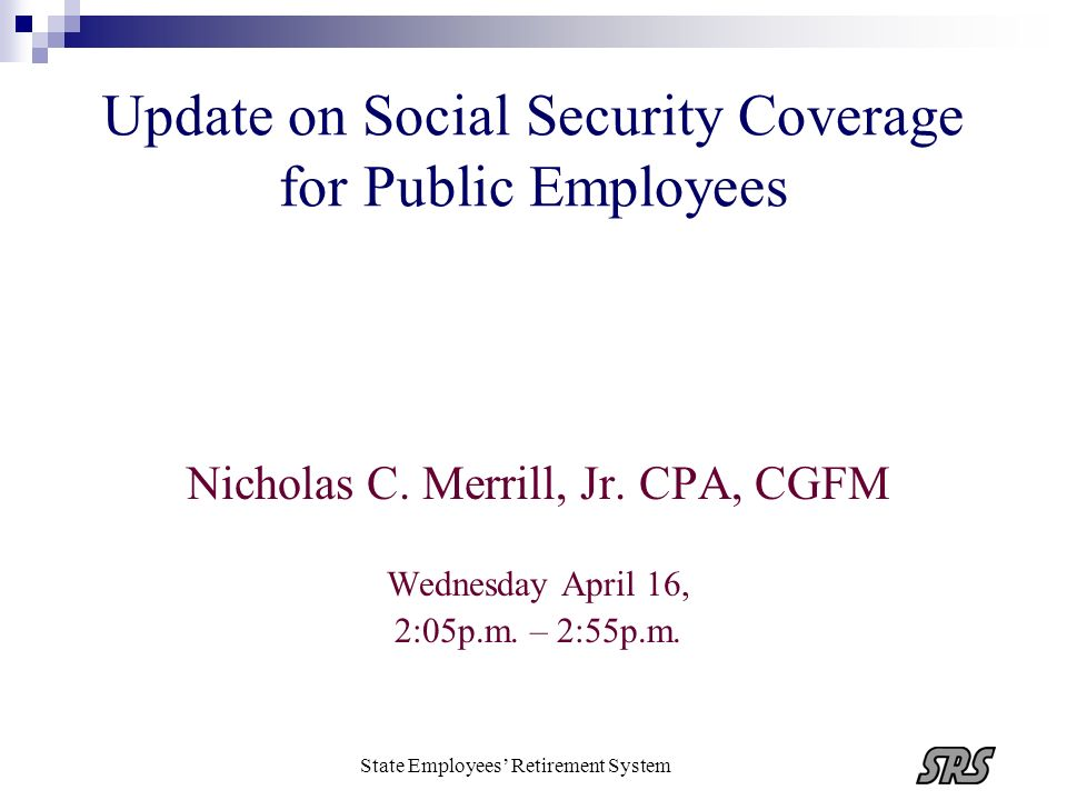 Update on Social Security Coverage for Public Employees