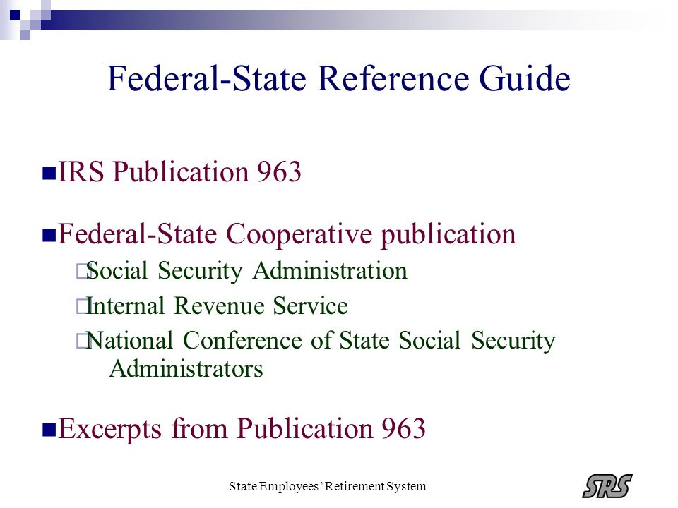 Federal-State Reference Guide