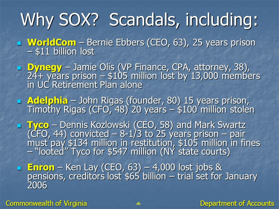 Why SOX Scandals, including: