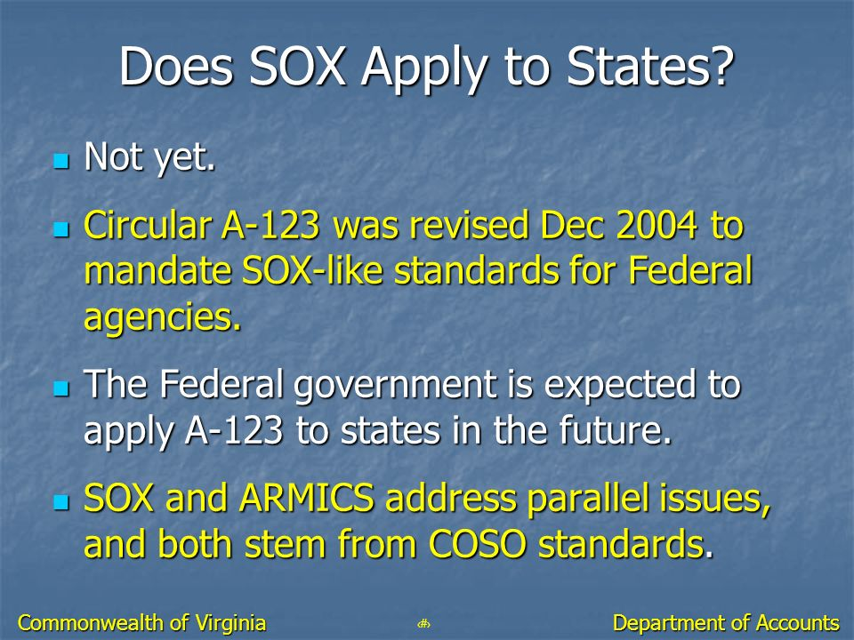 Does SOX Apply to States