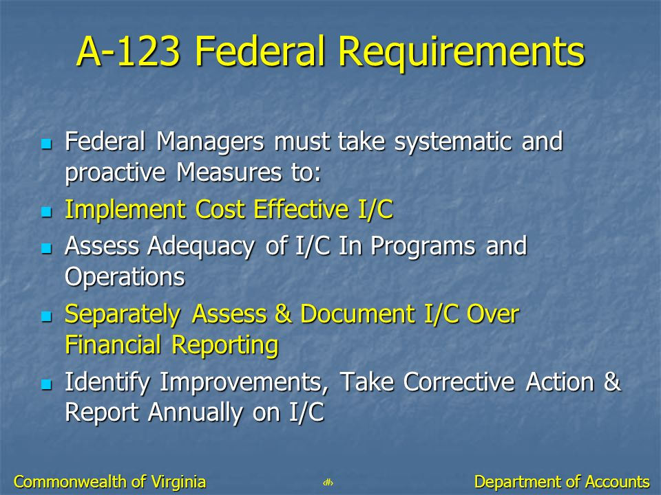A-123 Federal Requirements