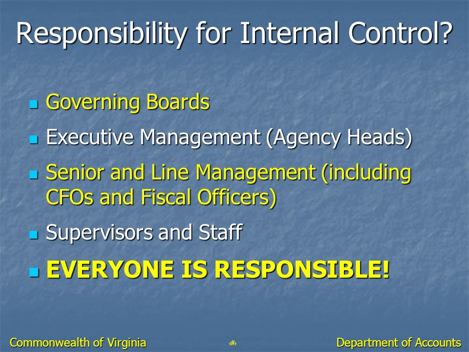 Responsibility for Internal Control