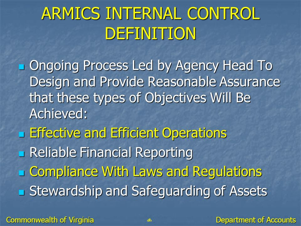 ARMICS INTERNAL CONTROL DEFINITION