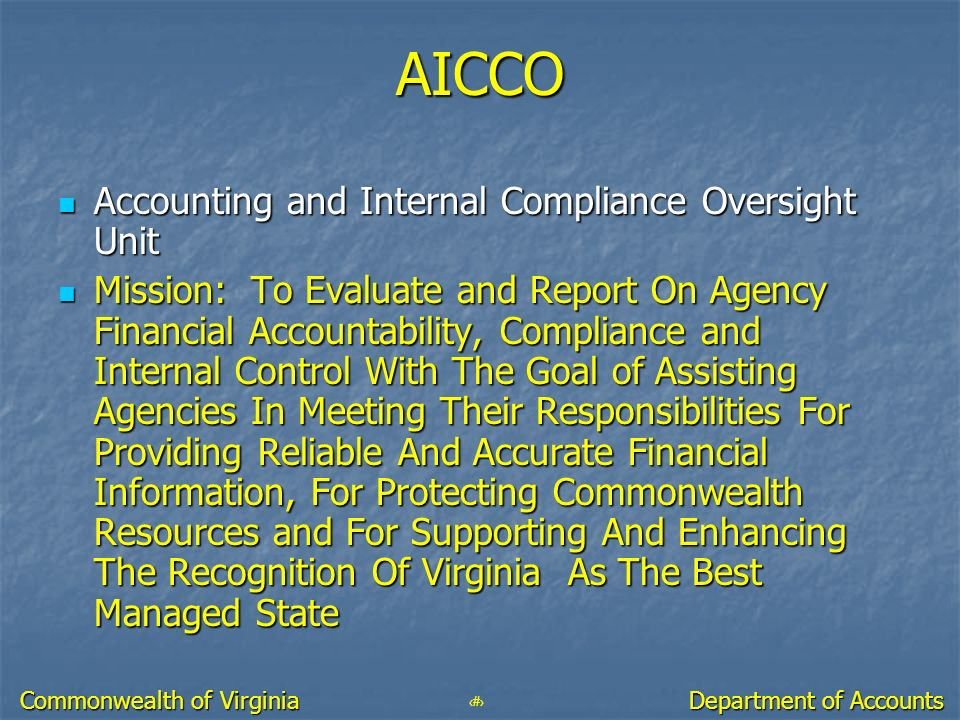 AICCO Accounting and Internal Compliance Oversight Unit