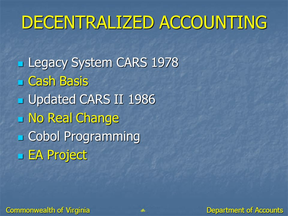 DECENTRALIZED ACCOUNTING