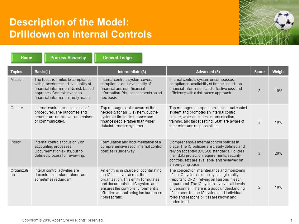 Description of the Model: Drilldown on Internal Controls
