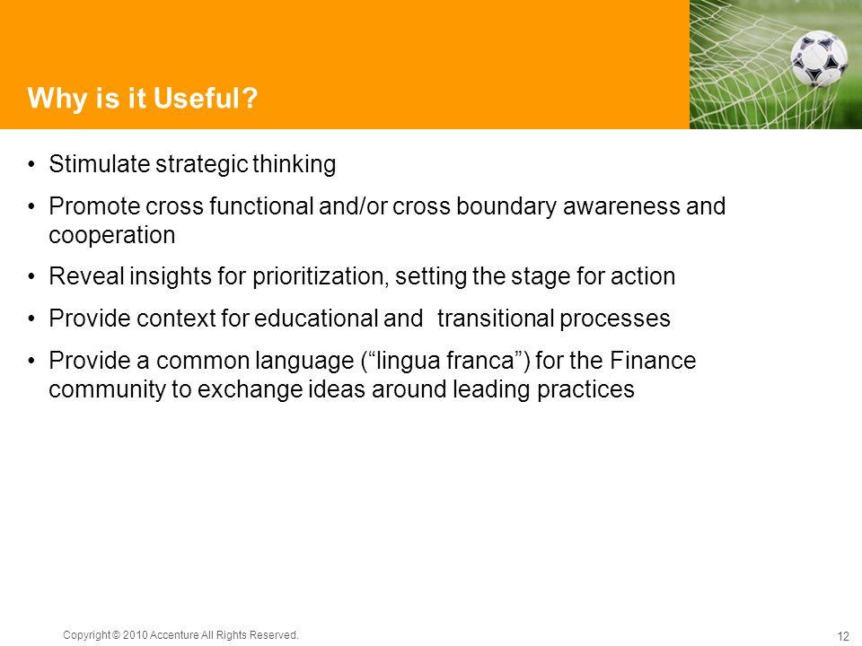 Why is it Useful Stimulate strategic thinking