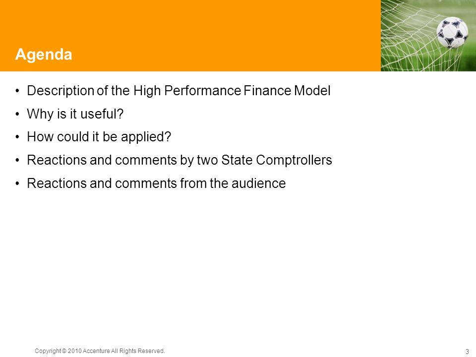 Agenda Description of the High Performance Finance Model