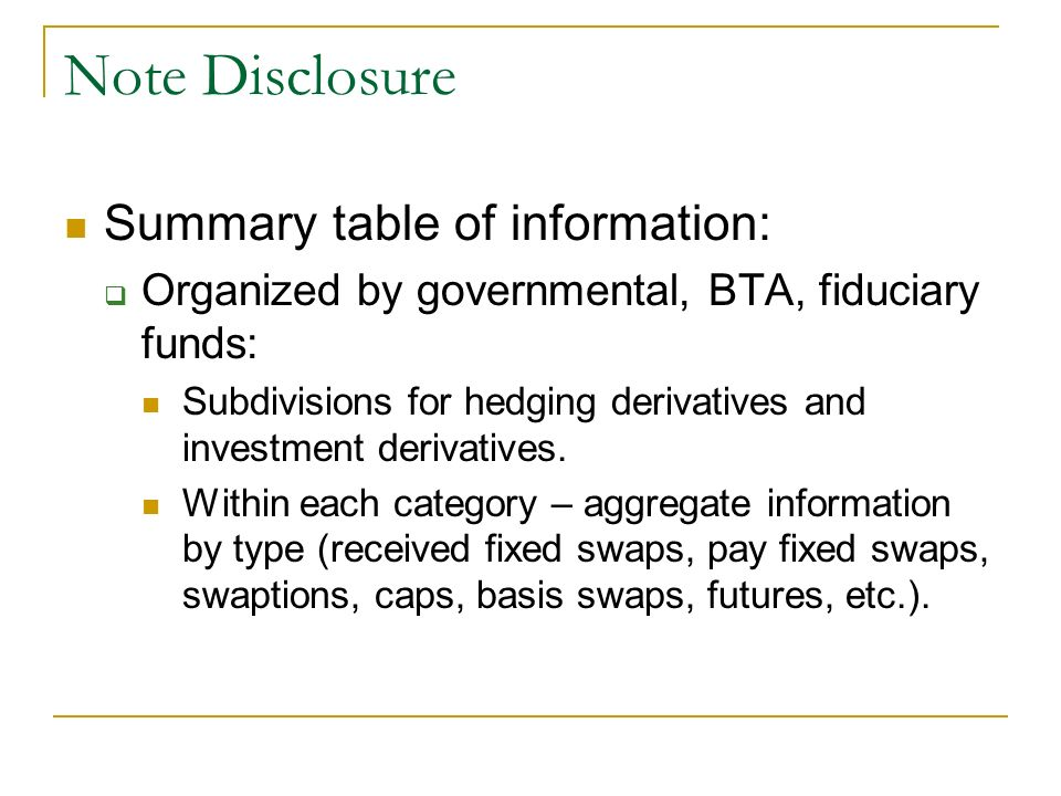 Note Disclosure Summary table of information: