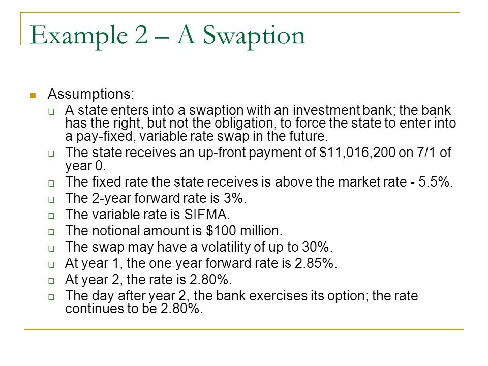 Example 2 – A Swaption Assumptions: