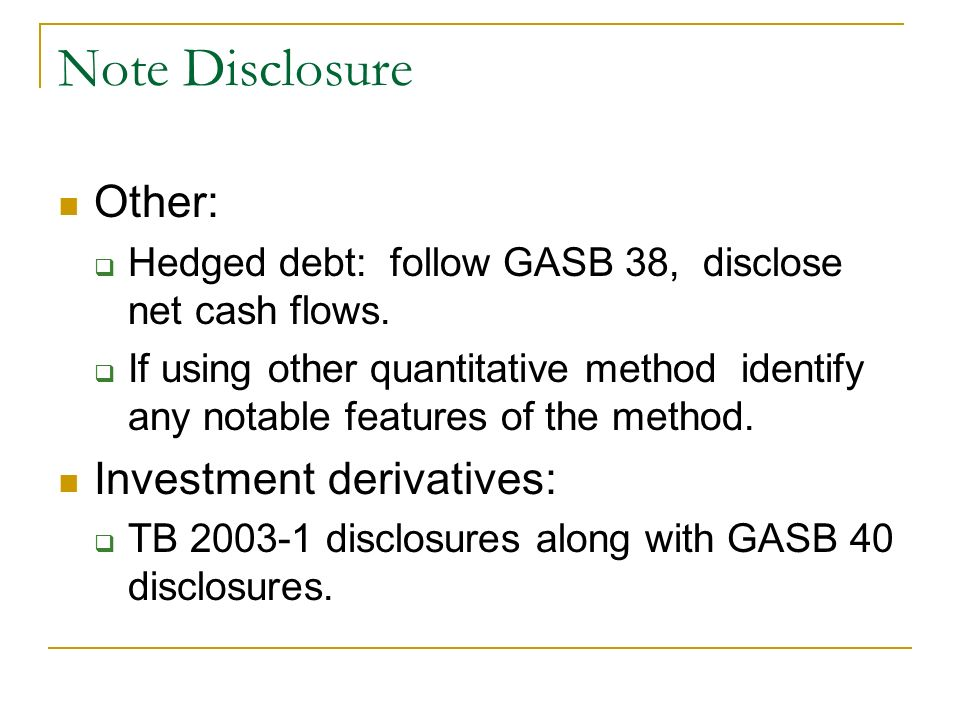 Note Disclosure Other: Investment derivatives: