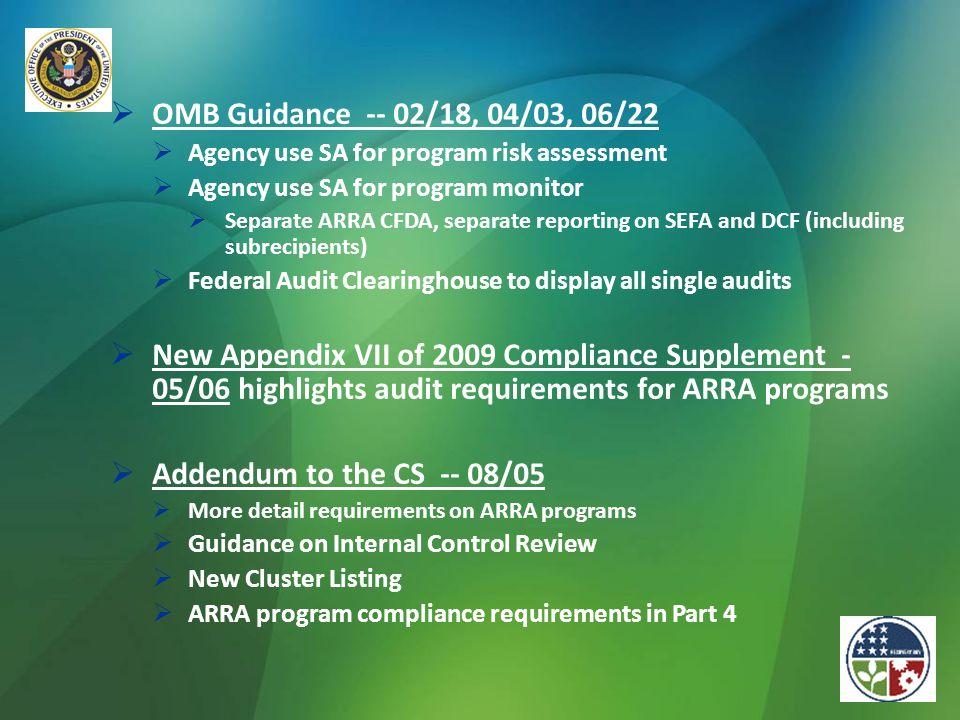 OMB Guidance -- 02/18, 04/03, 06/22 Agency use SA for program risk assessment. Agency use SA for program monitor.