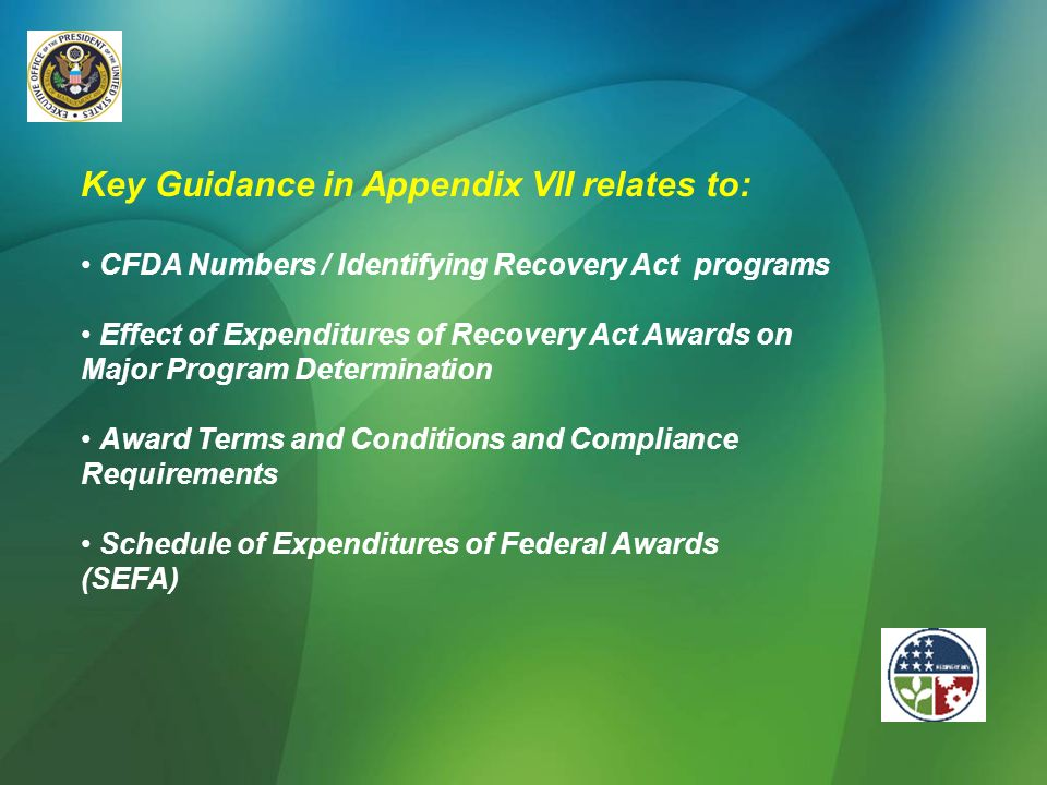 Key Guidance in Appendix VII relates to: