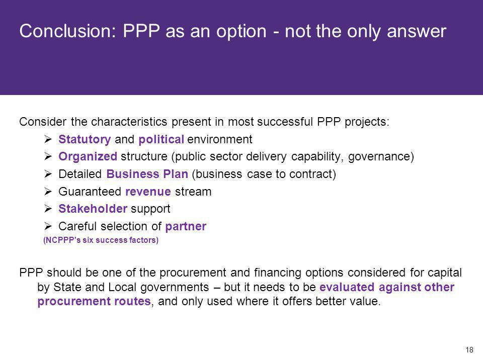 Conclusion: PPP as an option - not the only answer